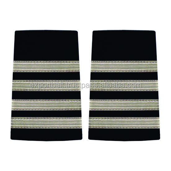 silver wire braid stripes, Pilot epaulettes , Captain Epaulette Four silver bars french braid