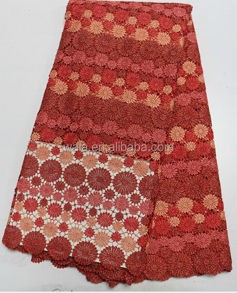 Round printing coral red cupion lace fabric / guipure lace fabric for evening party LB10212-3