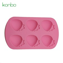 Strawberry Shape Silicone Rubber Shot Glass Ice Mold Tray