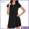 Custom High Quality Lace Up Mini Black Rayon Casual Dresses For Women