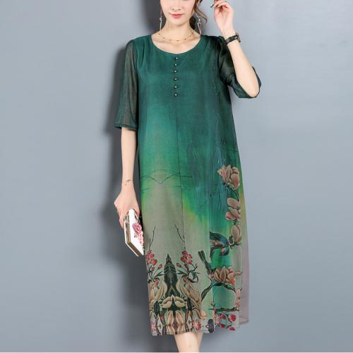 2017 Summer printed landscape green dress natural silk plus size short sleeve dresses fashion casual dress women