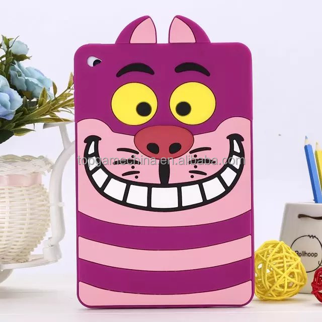 3D Tiger Design Soft Silicone Tablet Case For iPad min 2 3 4 tablet pouch