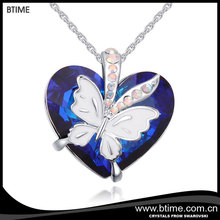 Btime popular sale Sapphire heart with butterfly pendant necklace crystals from swarovski