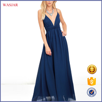 2016 European summer new fashion design latest women's evening navy blue maxi dress