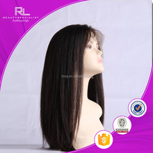 Qingdao factory price brazilian hair hot beauty lace front wig silky straight base full lace human hair wig with bongs