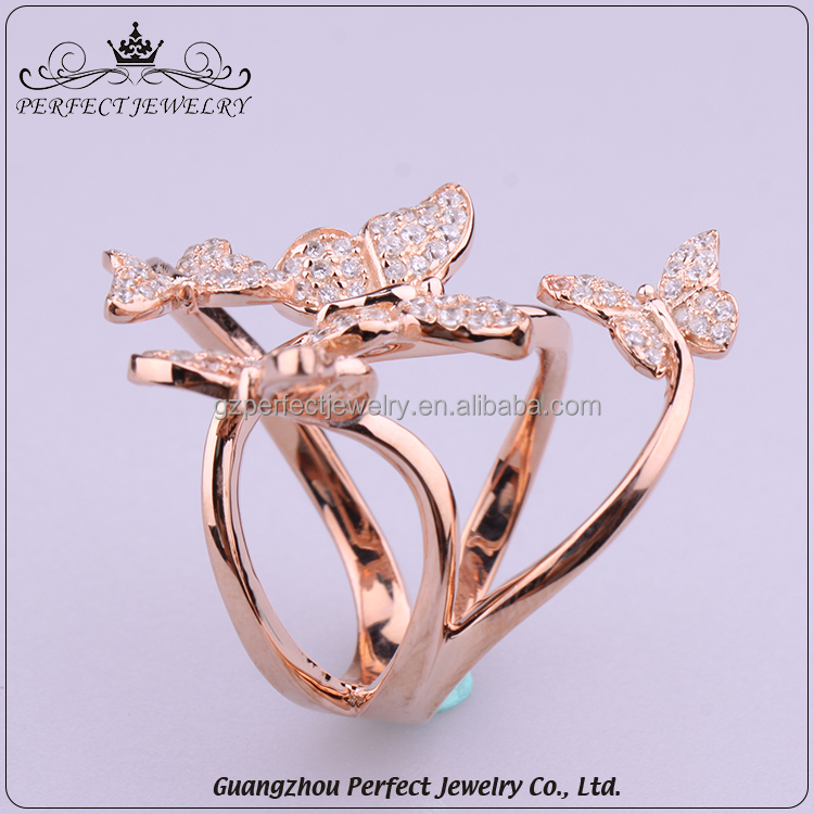 10 Pcs Low Moq Factory Price Wholesale Plating Rose Gold Butterfly Type Rings For Women 2017