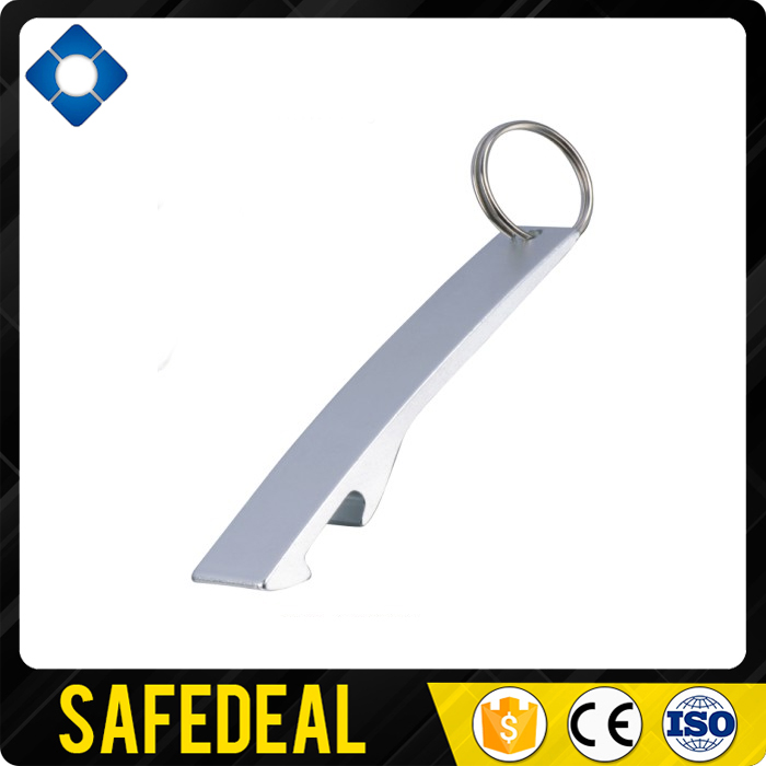 Aluminium Alloy Keychain hand held Bottle Opener with Chain Ring