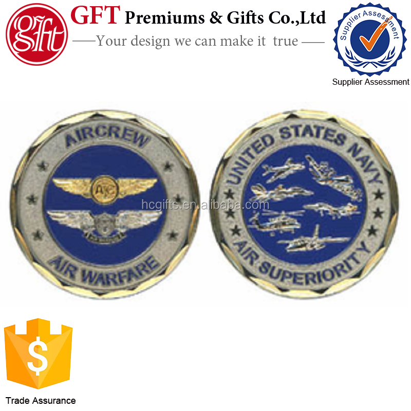 15 years coin manufacturer free artwork design low moq custom U.S. Navy Aircrew Air Warfare Challenge Coin