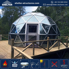 8m, 10m and 15m aluminum Geodeic dome with reinforced glass and polycarbonate