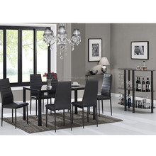 Modern glass dining table 6 chairs set in Dining Room Sets