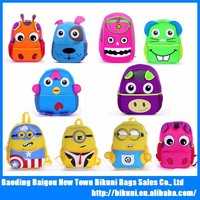 New fashion cute lovely kindergarten waterproof kids cartoon neoprene school backpack bag