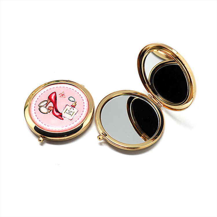 HX-7810 Round metal murano glass compact mirror