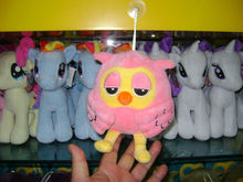 18cm lovely customized pink plush night owl keychain toy with plastic sucker