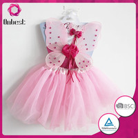 2015 Girls Fairy butterfly wings flower plain tutu sets kids dress up costumes fancy princess wings and tutu with magic wand