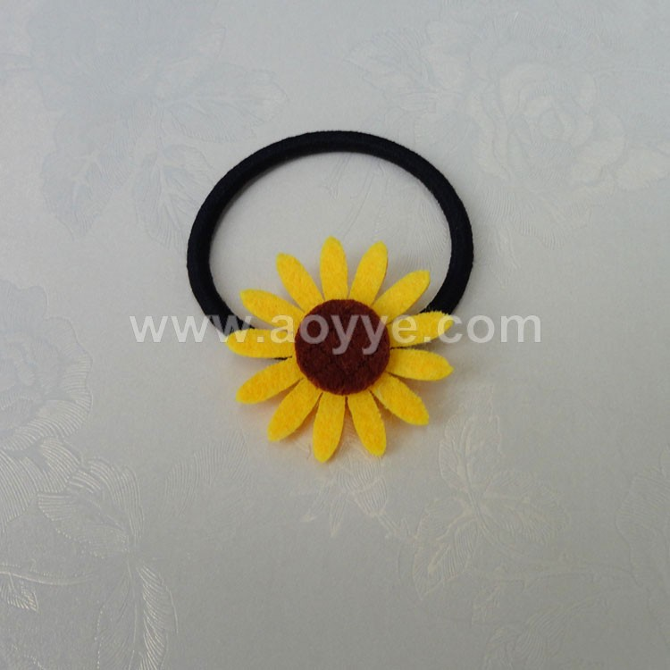 New style high quality design cute elastic hair band sunFlower elastic ribbon ponytail holders ties