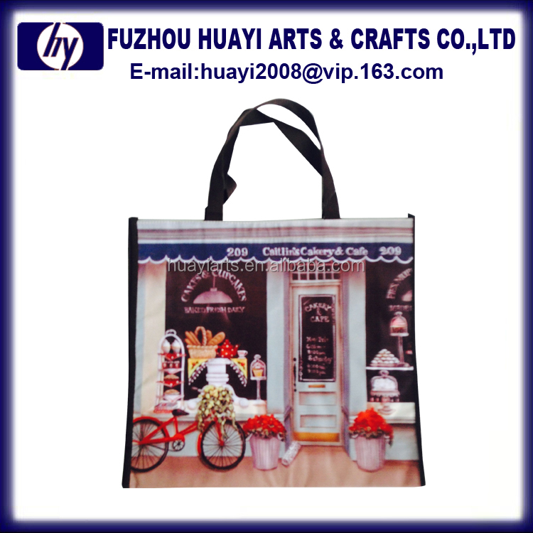 2016 custom reusable foldable polyester shopping bag