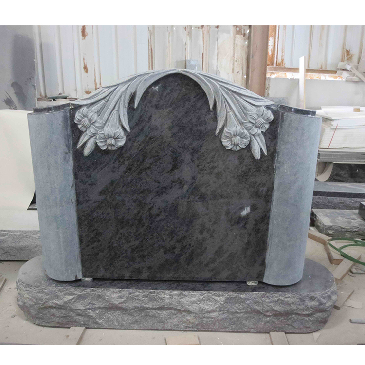 Upright Grey Italian Granite Monuments with Craved Lily