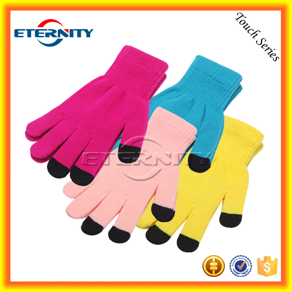 New knitting colors soft wool touch screen gloves