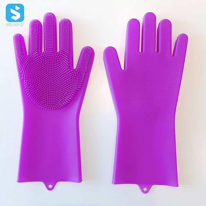 Durable Heat and Slip Resistant Long Rubber silicone gloves with wash scrubber for dishes