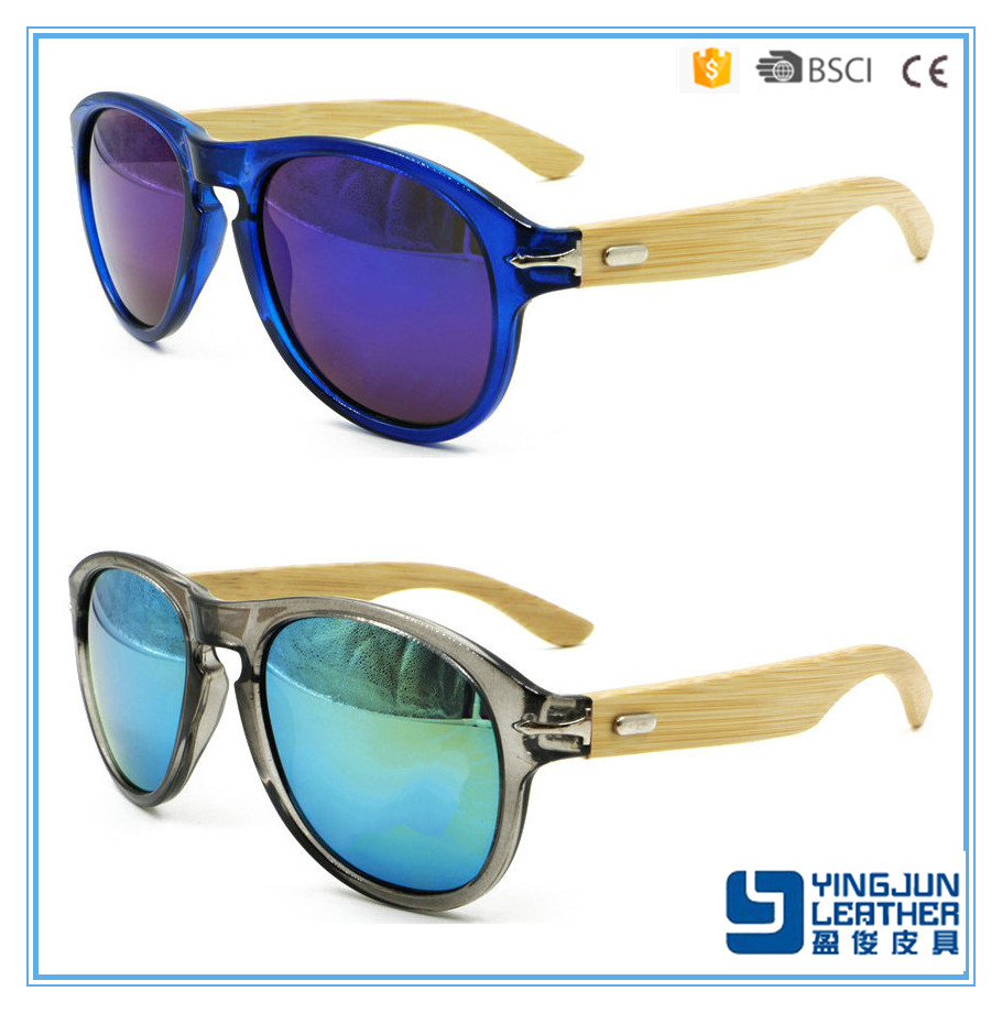 OEM UV 400 colorful lens sunglasses jeans bamboo wooden sunglasses