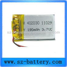 Hot selling lithium ion rechargeable 3.7v 180mah li-ion battery 042030