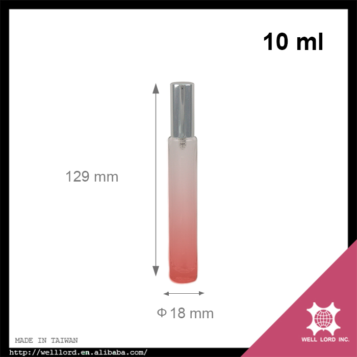 10ml pink gradient frosted glass silver cap perfume pump spray