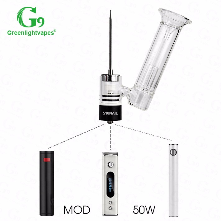 2016 new design e cig g9 510nail ceramic vaporizer with water filtrating glass bubbler