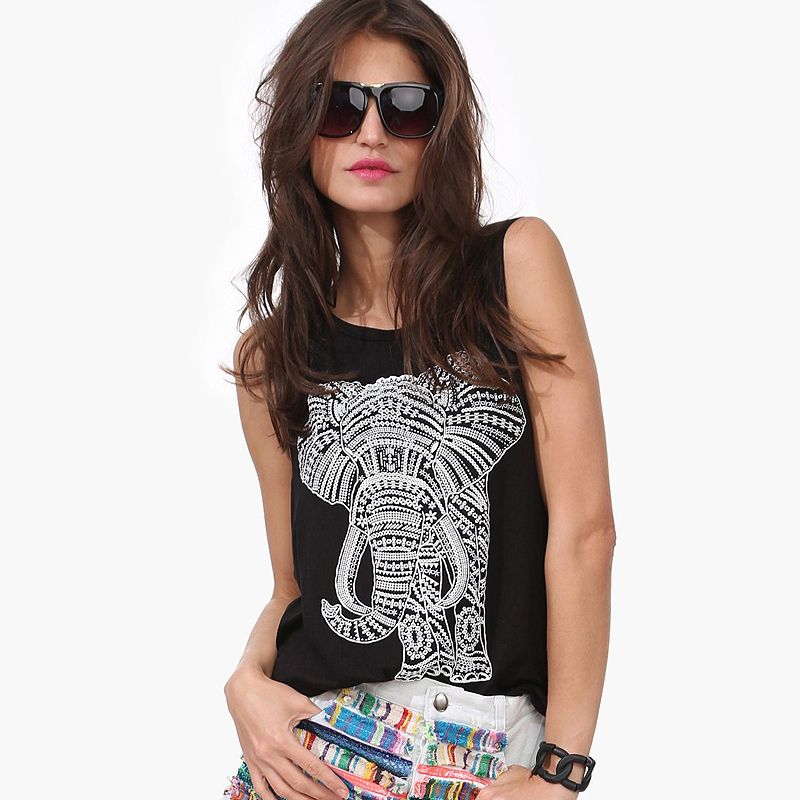 Free Shipping 2015 Women Fashion Sexy Tank Elephant Pattern Printed Sleeveless Rounder Collar Loose Casual Women Top D465
