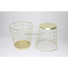 550-36 household round metal wire wastebasket with gold-plating