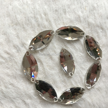 Horse Eye 17x32mm Crystal Clear White Evening Dress Decorations Sewing On Claw Rhinestones