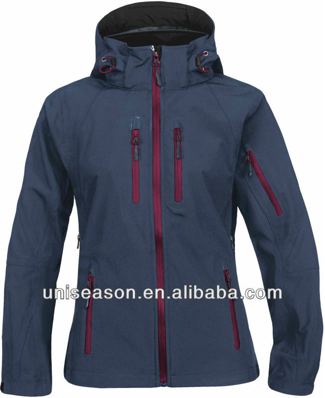 Women windproof waterproof winter softshell jacket 3 layers fabric
