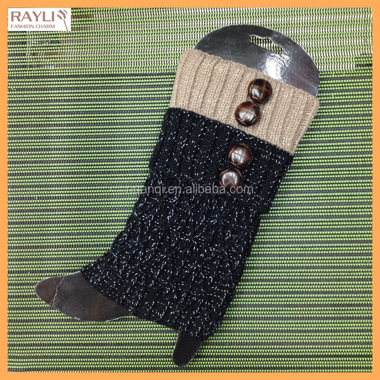 2016 Fashion New China Wholesale Thick Knit Ladies Custom Color Gold Silver Wire Decorated Boot Toppers in Leg Warmers