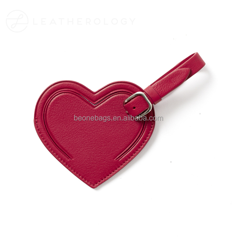 Custom wholesale travel genuine leather hang tag heart shape leather luggage tag with cover