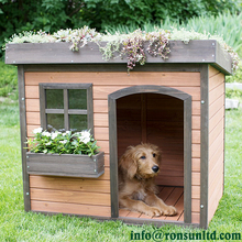 Lucky Green Roof Medium Wooden Dog House for Sale
