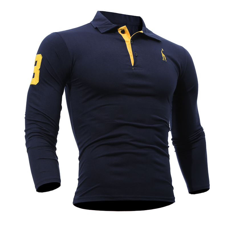 Good Quality Collar Long Sleeve Shirt Men Embroidered Logo Cotton Polo T Shirt