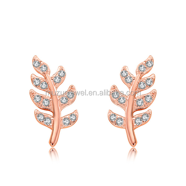 Rose Gold Plated 100% 925 Pure Silver Sterling Silver Leaf Stud <strong>Earrings</strong>