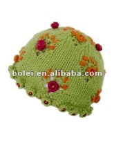 princes knitted children hats with Cute flower and beaded