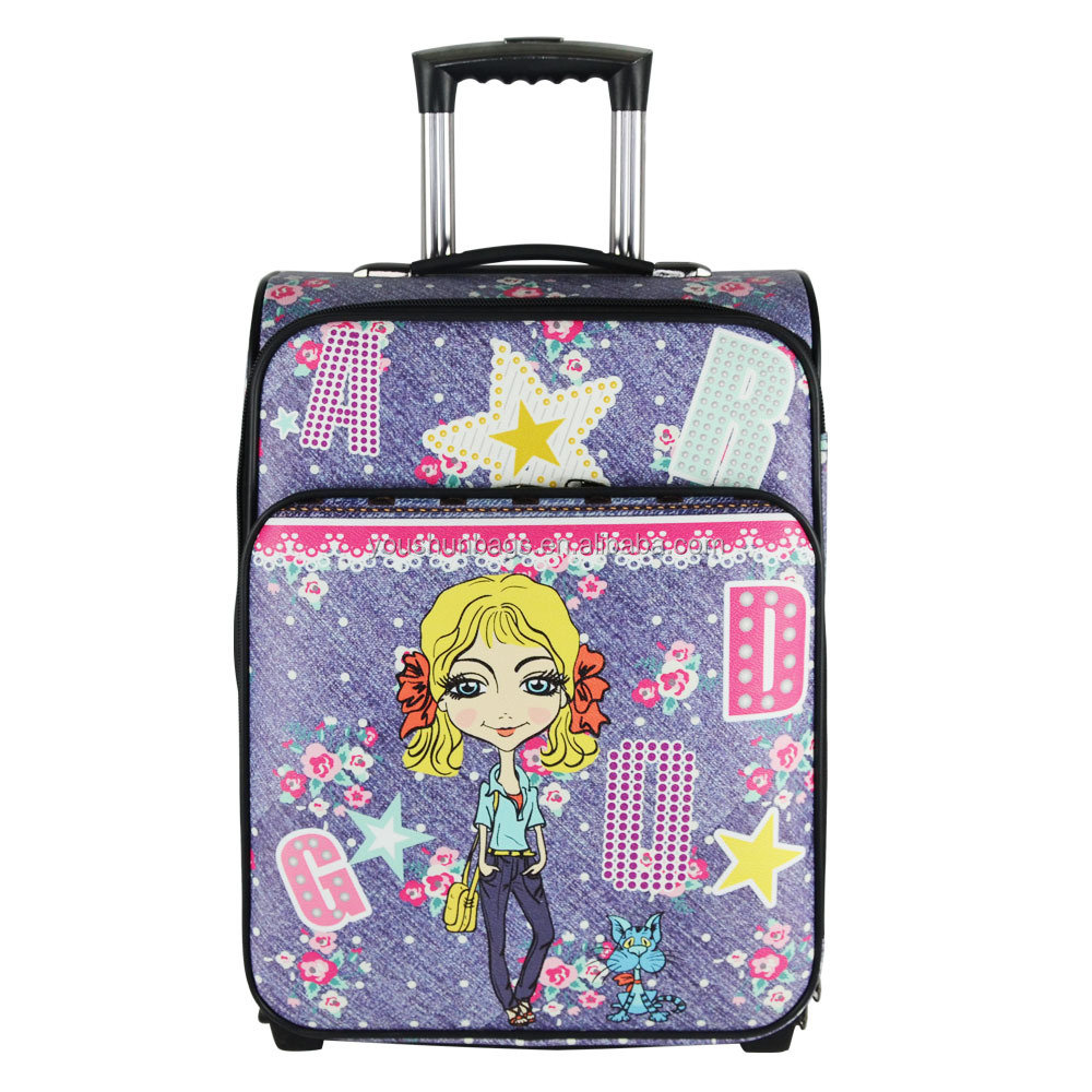 Low MOQ PU leather printing carry on luggage
