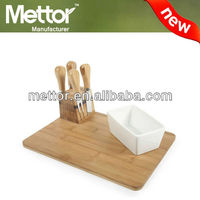METTOR high quality bamboo cheese knife set, wooden serving tray