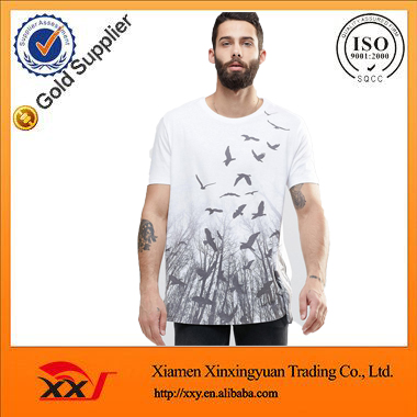 men summer fashion 2016 50 cotton 50 polyester t shirts heavyweight t-shirts white screenprint t-shirt with private label