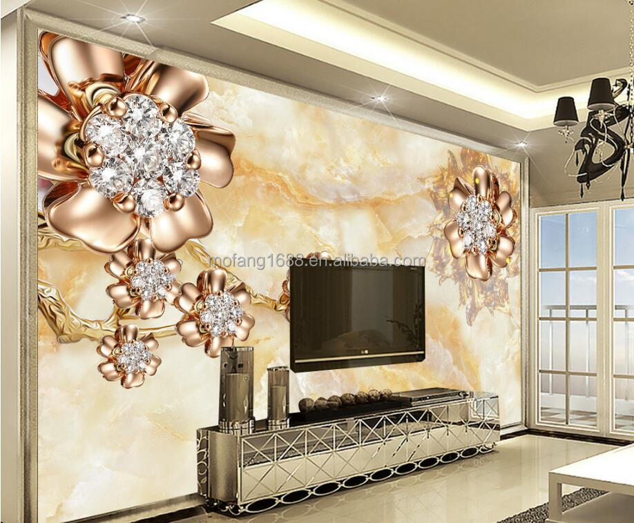 Any <strong>wall</strong> sizes are OK to customize jewelry diamond flower luxury 3d wallpapers