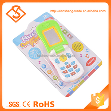 Hot sale baby game educational cartoon plastic music phone toy with light