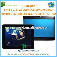 9.7 inch Samsung quad core tablet pc android aluminum case with 3g caling Bluetooth GPS HDMI function