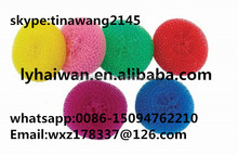 High quality colorful mesh scourer plastic kitchen scrubber/dish scrubber cleaning balls from china factory