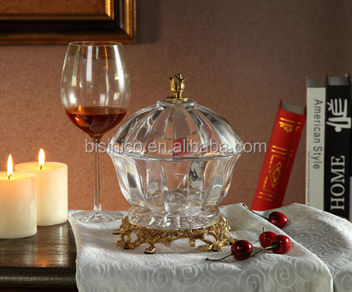 Royal Home Decorative Vase, Luxury Brass with Crystal Vase (BF01-0209)