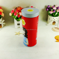 Wholesale empty 4 color printing metal cylinder tin can for tea
