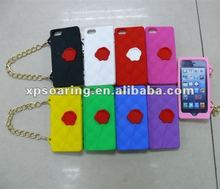 Chain hangbag case with rose for iphone 5
