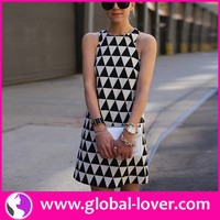 Low moq ladies sleeveless plaid pictures of elegant casual dresses
