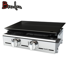 SS Cooking Plate Propane Plancha BBQ Barbeque Grill Outdoor With 2 Burner