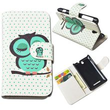 Printing Picture Magnetic Leather cover for Sony Xperia E Dual C1605 C1604 C1505 Case with wallet and stand Free Shipping